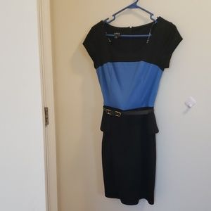 Black and blue dress with belt